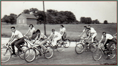 Riding friends. Rosemary Weber, my mother, in center in the hat. Buddies motivating each other and enjoying the trip.
