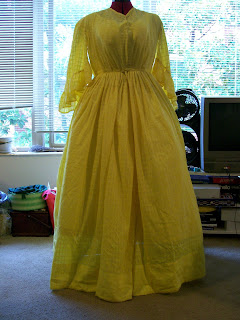 1850s yellow lawn sheer dress