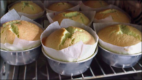 pandan chiffon cupcakes, with cracked tops, baking in oven
