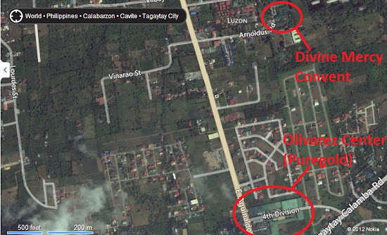 Satellite image showing the location of Pink Sisters' convent in Tagaytay