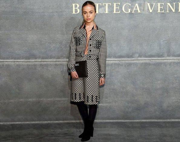 Lady Amelia Windsor attends the Bottega Veneta Fall/Winter 2018 fashion show