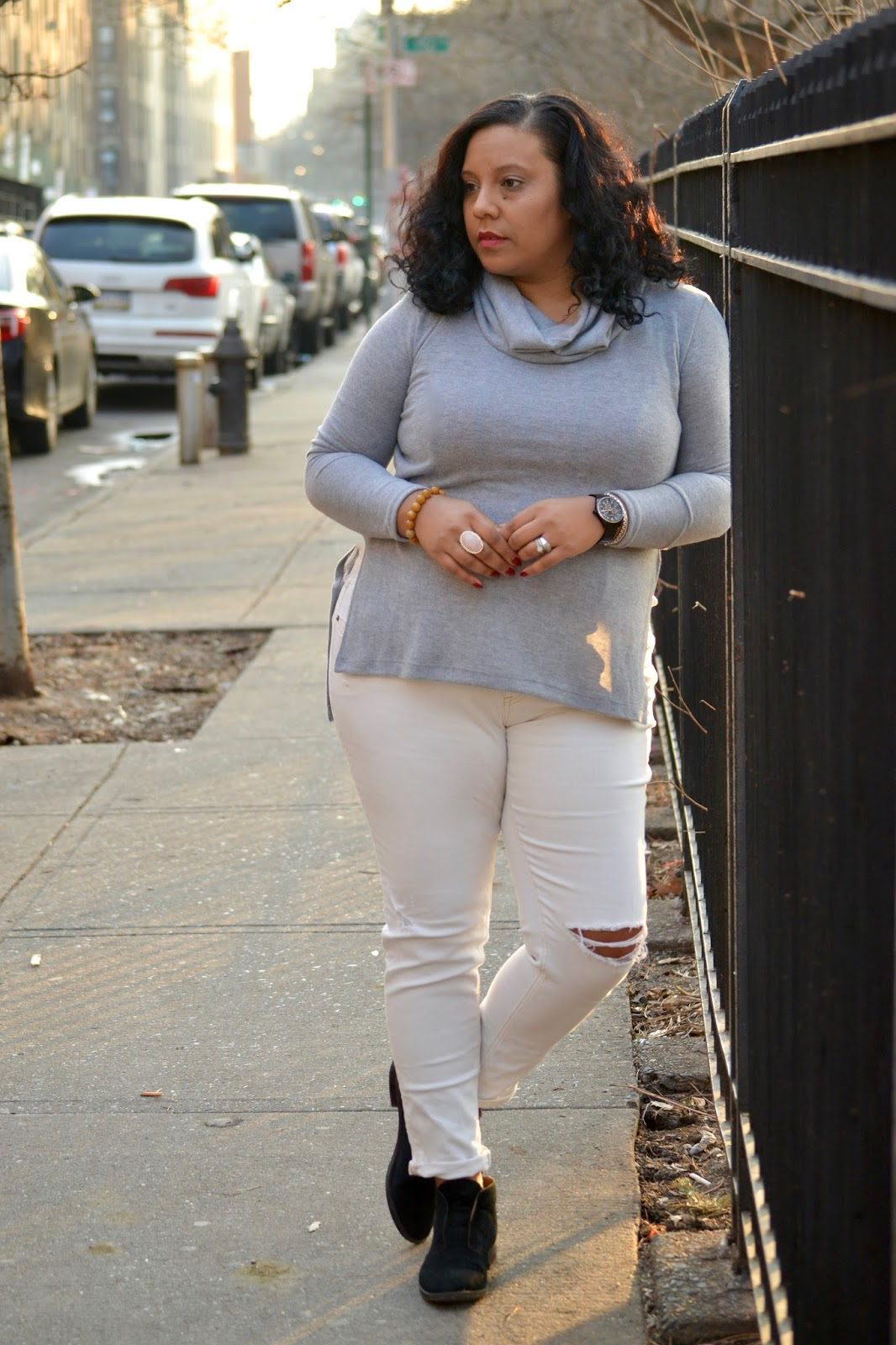 Grey Sweater and Ripped Jeans