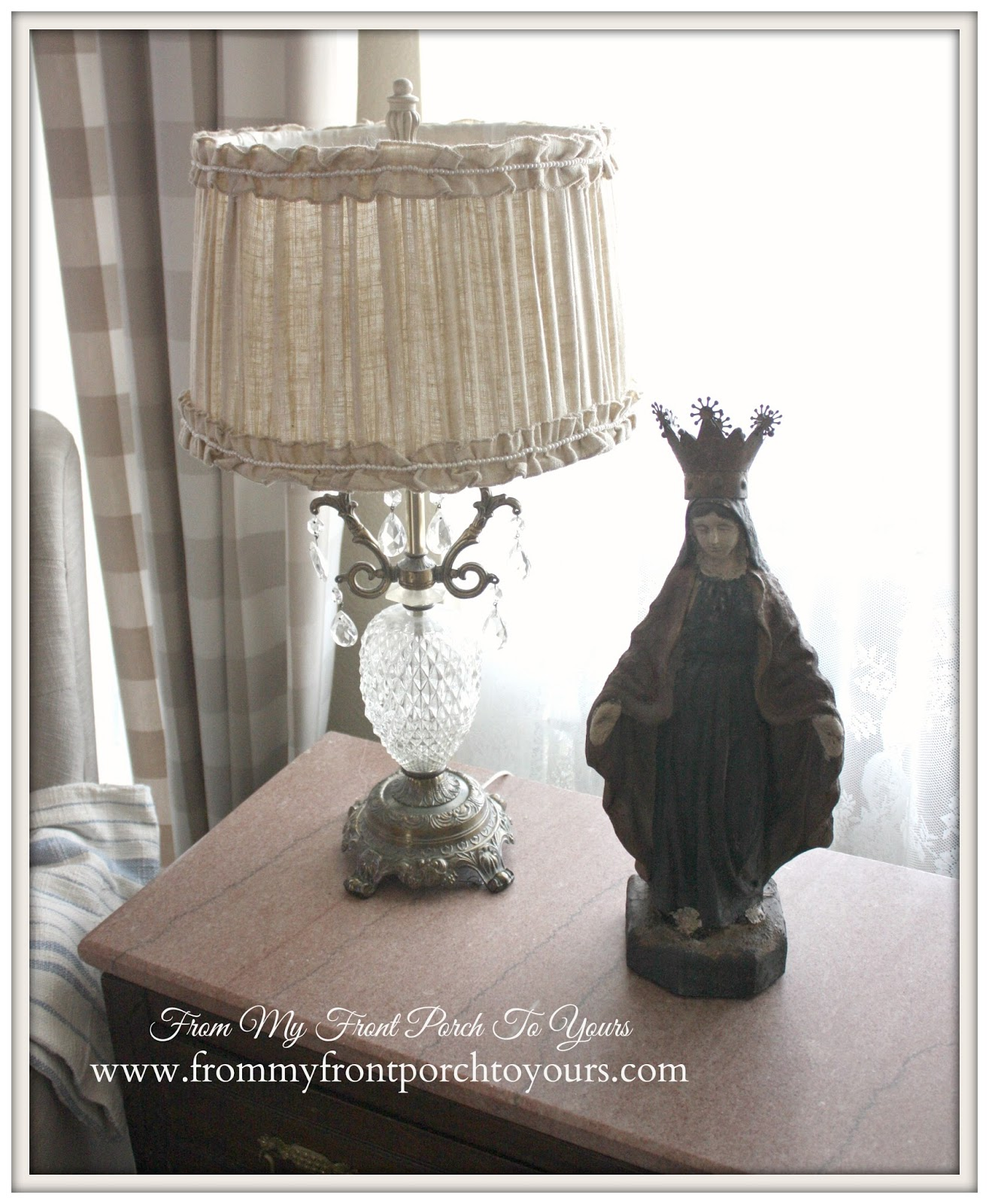 French Farmhouse vignette on table top at From My Front Porch To Yours.