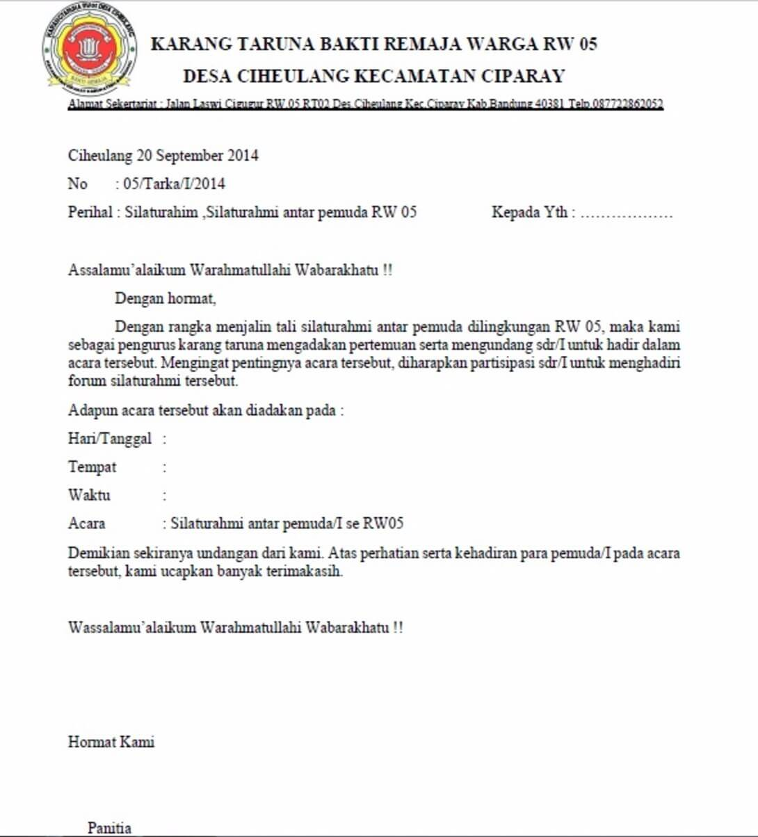 Kumpulan Contoh Surat Undangan Resmi Organisasi Karang Taruna Terbaru