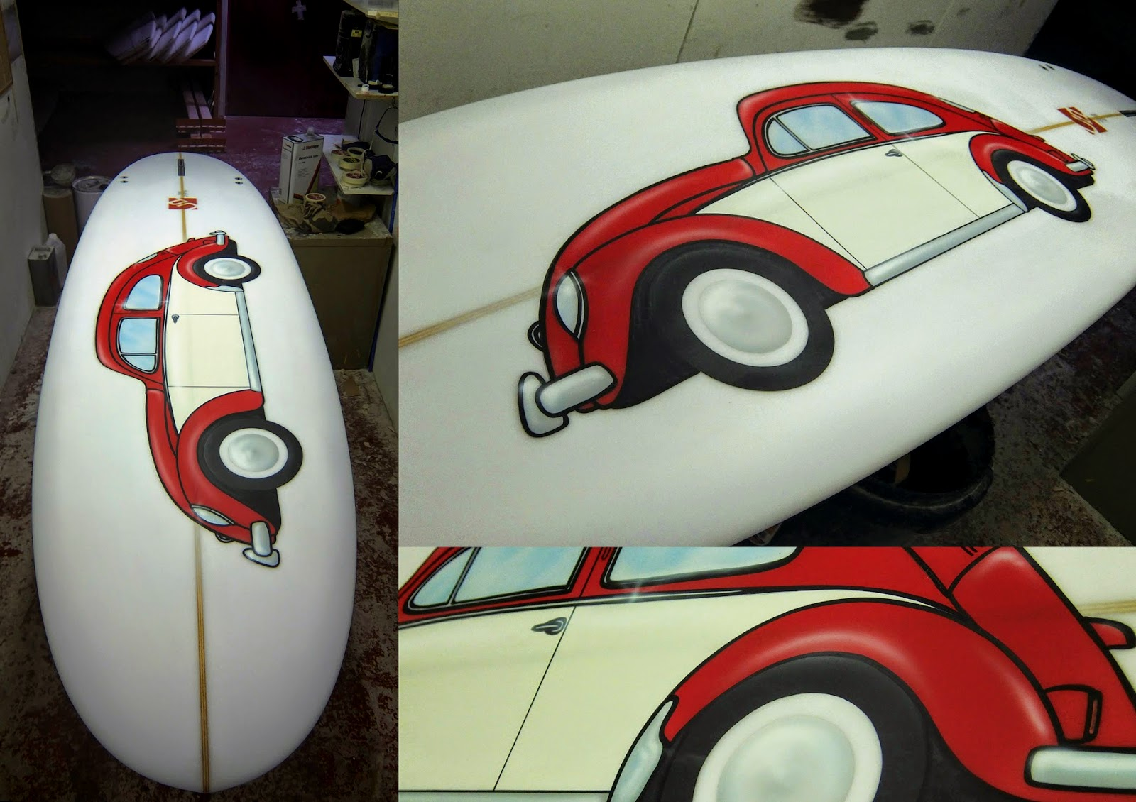 VW Beetle, Surfboard,