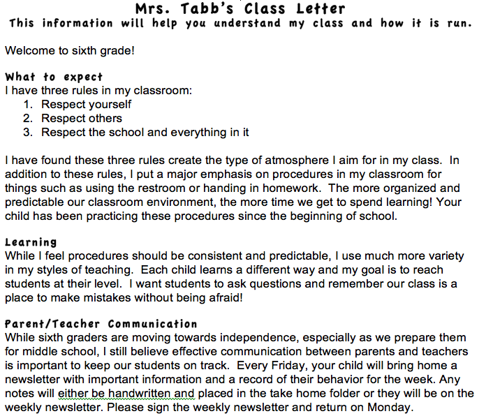 Letter To Parents From Teacher Beginning Of The Year.Mrs Tabb S Teaching Ideas Beginning Of Year Parent Letter