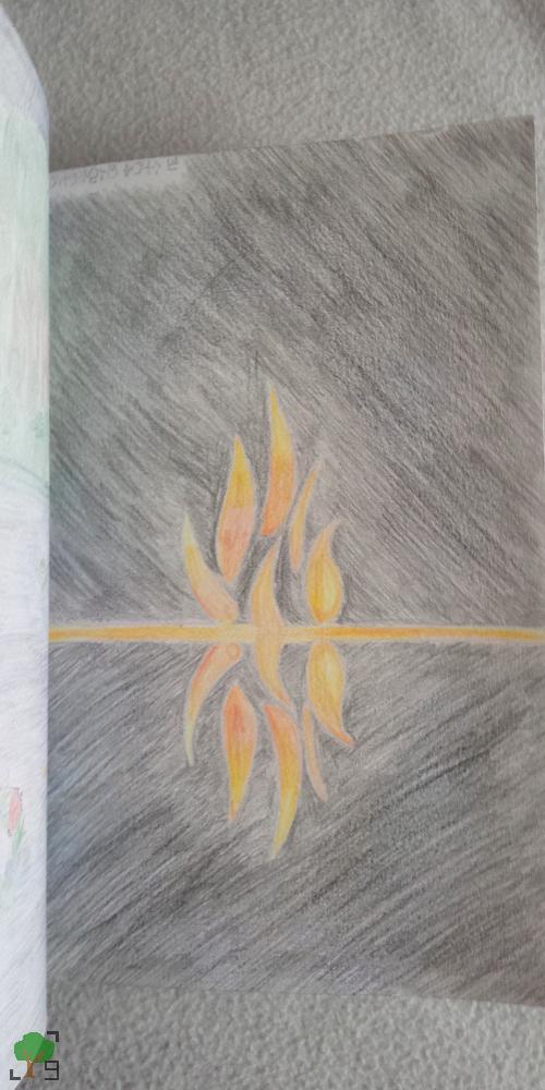 wilki, muzyka, ilustracja, interpretacja, rysunek, piosenka, ogień, ognisko, czerń, symbol, znaki, symbolika, symbole