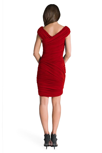 Handmade Pleated Red Chiffon Sheath Cap Sleeve Short Cocktail Bridesmaid Dress
