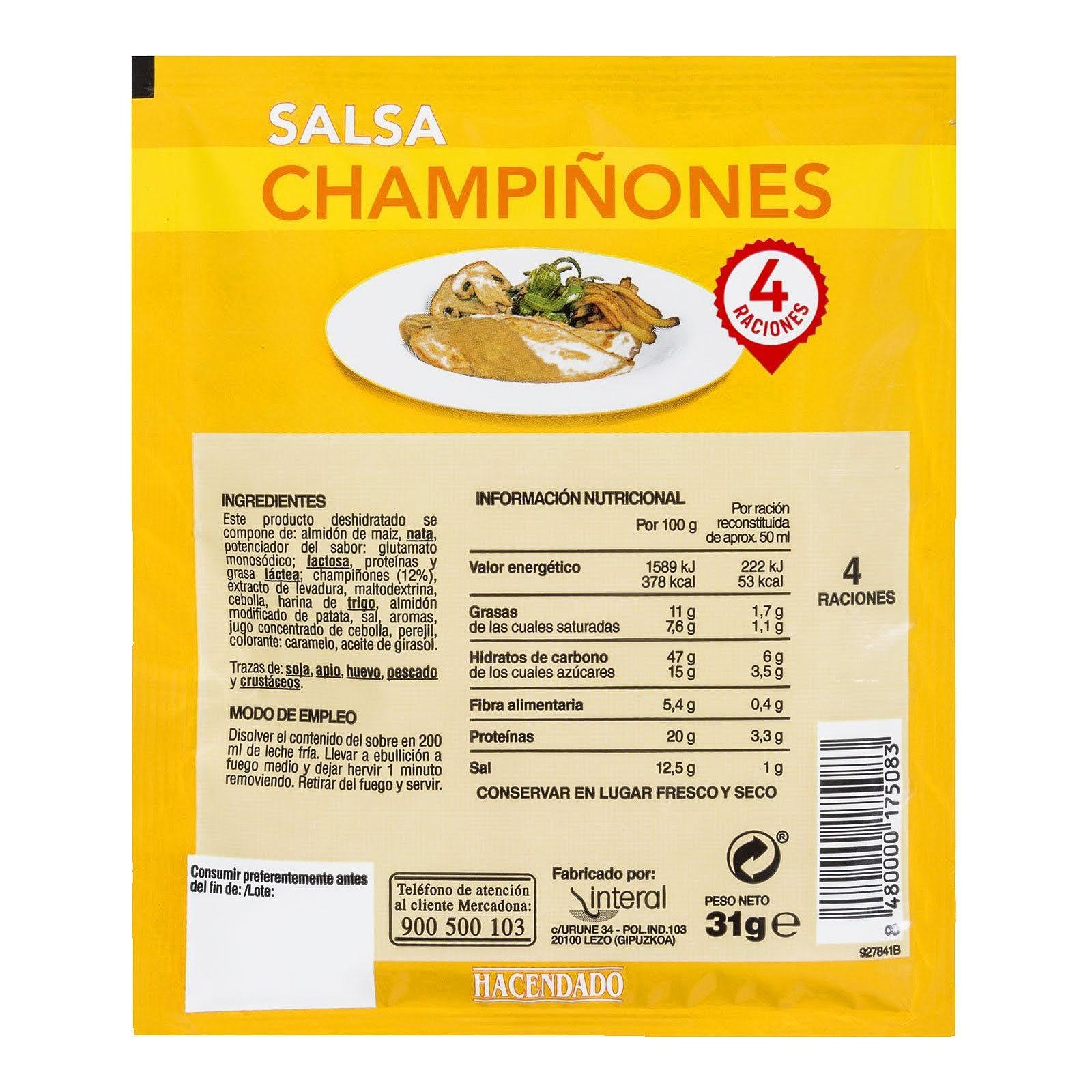 Salsa deshidratada champiñones Hacendado