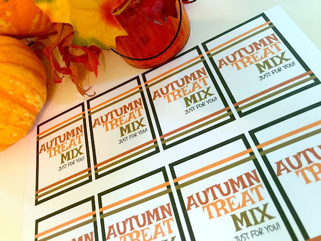 Autumn Fall Treat Mix Printable tags