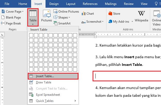 Membuat Tabel Microsoft Word (Menambah & Menghapus Baris Kolom)