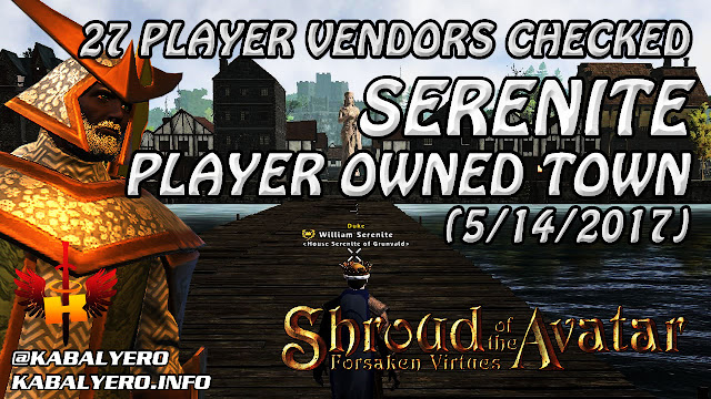 Serenite POT, 27 Player Vendors Checked (5/14/2017) 💰 Shroud Of The Avatar Market Watch