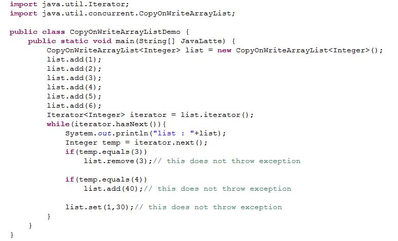 copy on write arraylist size