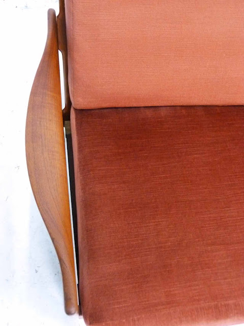 Teak Three-Seater Sofa by Illum Wikkelso Danish Modern Overhead Arm