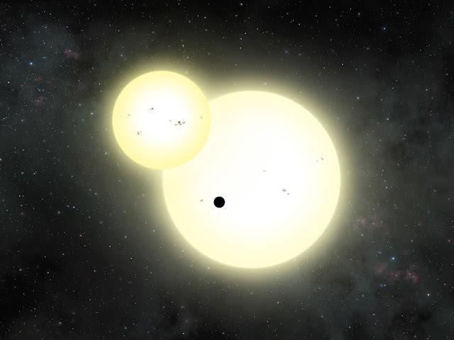 Hình ảnh mô phỏng cho thấy hành tinh Kepler-1647b quay xung quanh hai ngôi sao chủ của nó. Tác giả đồ họa : Lynette Cook.