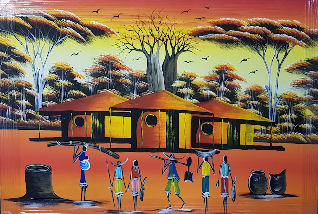 Paintings Canvas African Curio Huts