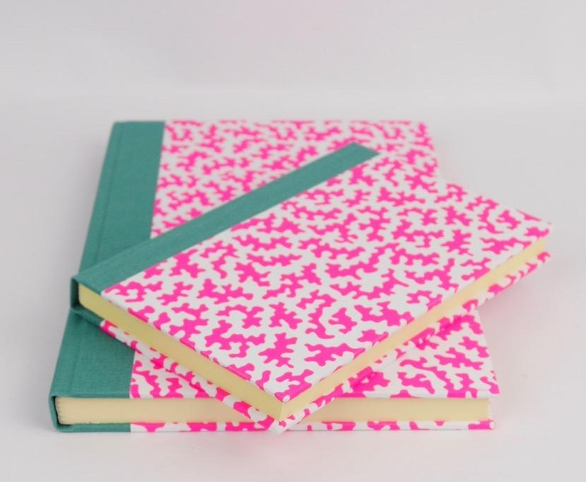 Blue Bowl Pink and Green squiggle notebook