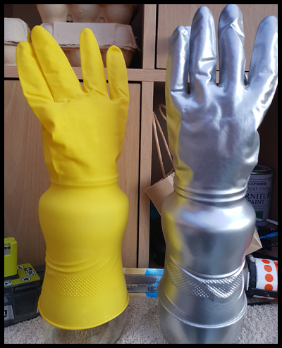 Marigold rubber gloves make great space gloves