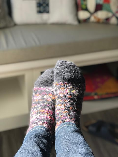 hand knit socks, fair isle socks