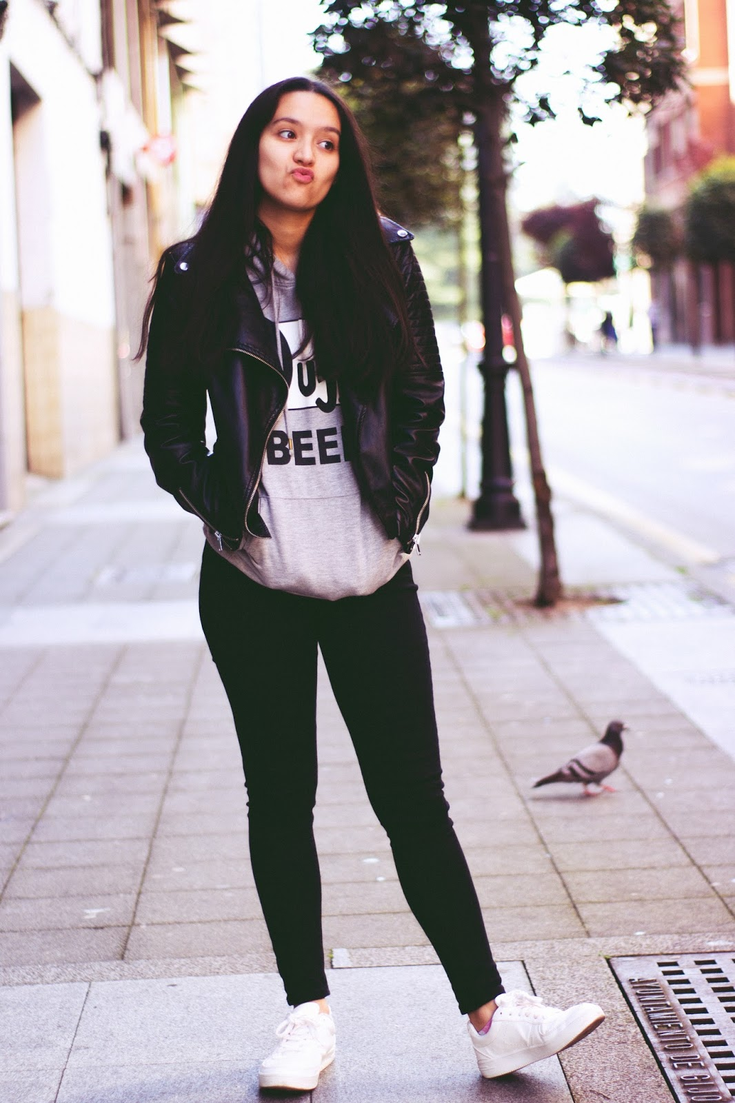 casual outfit hoodie black jeans
