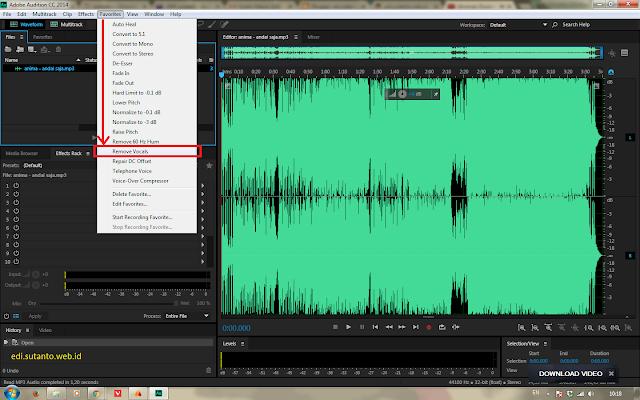 Menghilangkan Suara Vokal  menggunakan Adobe Audition