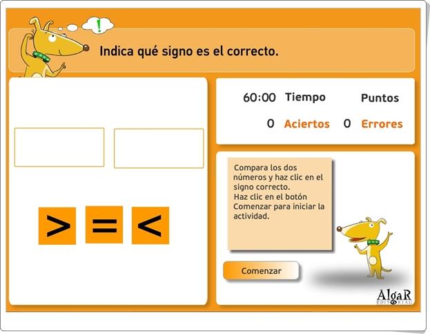 """""""Indica qué signo es el correcto"""" (Juego de comparación de números de Primaria)"""