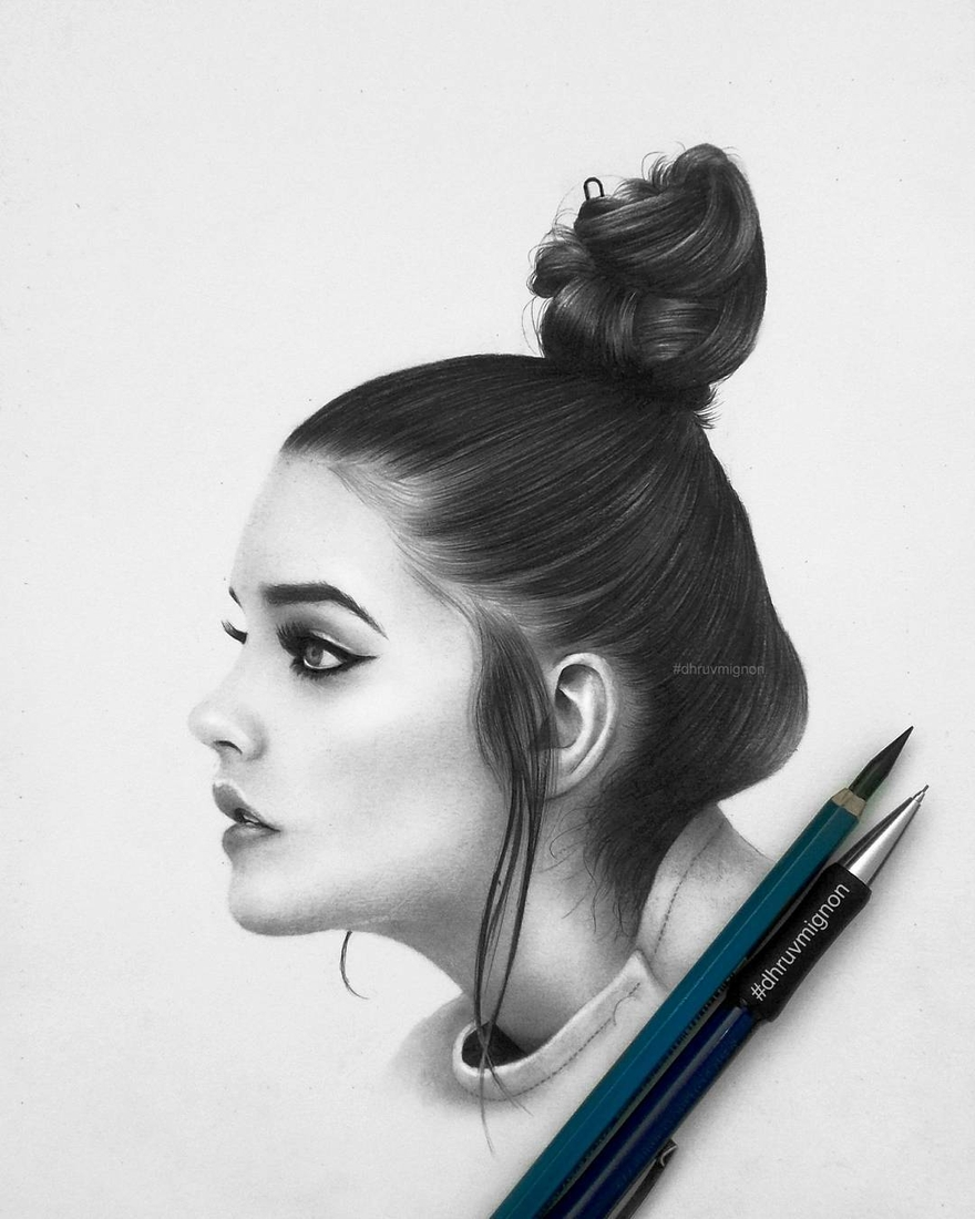12-Barbara-Palvin-dhruvmignon-Celebrity-Miniature-Black-and-White-Pencil-Portraits-www-designstack-co