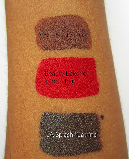 makeup swatches beauty bakerie mon cheri nyx beauty mark lip lingerie la splash  catrina