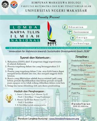 Lomba Karya Tulis Ilmiah Nasional (LKTIN) 2017 | Univ. Negeri Makassar | Mahasiswa