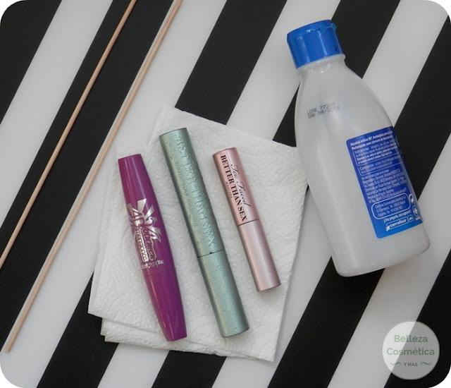 vaciar limpiar tubo máscara pestañas