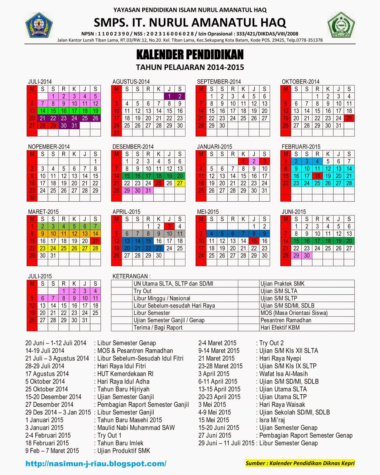 Kalender Pendidikan 2015 Kepulauan Riau Wind S Creative Batam Nasimun J Riau November 2014