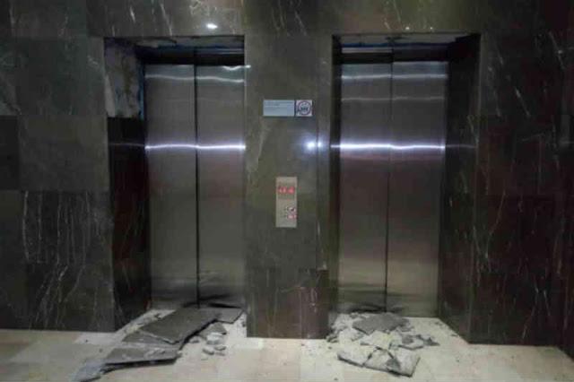 Loby del Hotel Hisperia de Valencia quedó muy agrietado tras el sismo