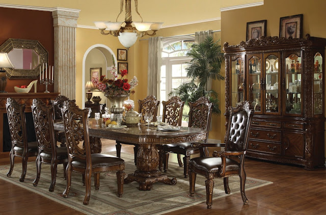 amazing traditional dining room sets with vase flower on top plus soft carpet and luxurious vanity