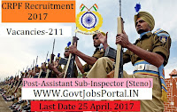 Central Reserve Police Force (CRPF) Recruitment 2017- Assistant Sub-Inspector (Steno)