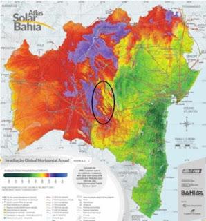 Mapa da produção de energia solar da Bahia