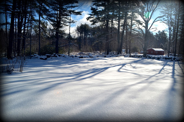 snow, shadow, springtime, mother nature, red barn