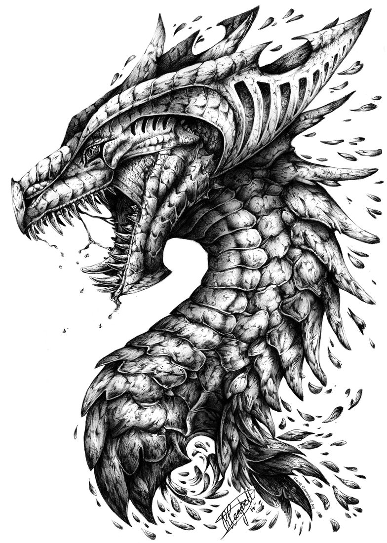 05-Dragon-René-Campbell-Art-in-Animal-Doodle-Drawings-www-designstack-co