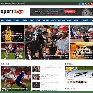 template blogspot tin tức thể thao chuẩn responsive
