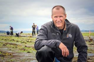 Bill Dewey on his clam farm