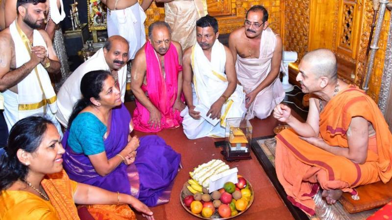Indian Defence Minister Nirmala Sitharaman visits Udupi Sri Krishna mutt