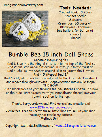 123imaginationalive Free Bumble Bee 18 Doll Shoe Pattern
