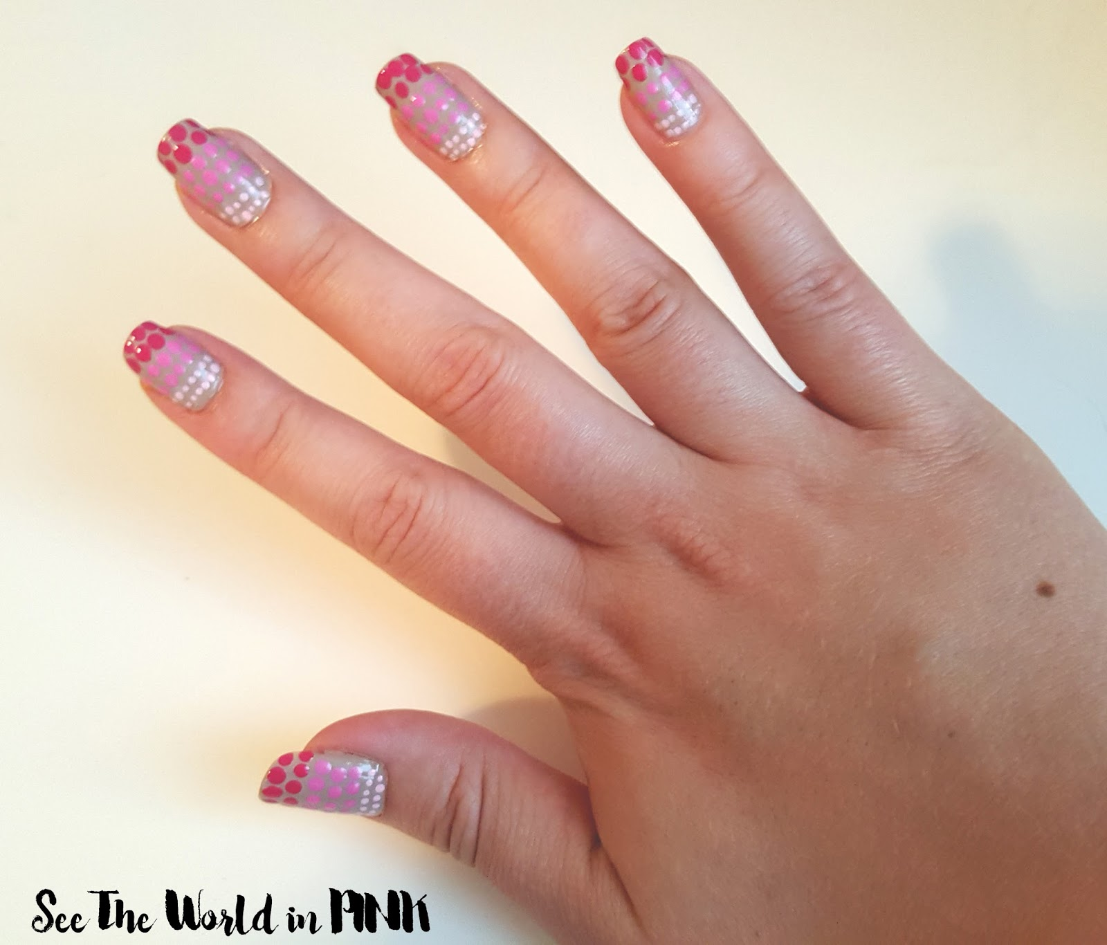ombre polka dot nails