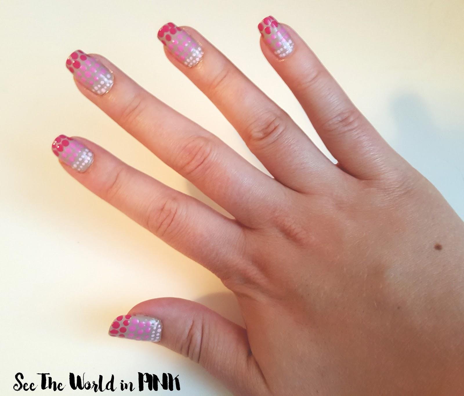 ombre polka dot nails