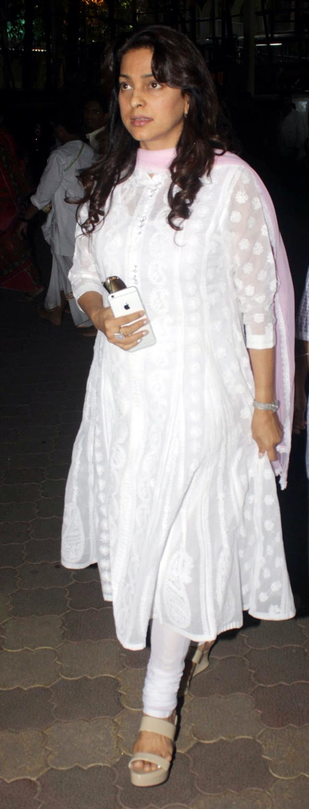 Juhi Chawla Without Makeup Stills In White Dress