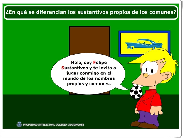 """""""¿En qué se diferencian los sustantivos propios de los comunes?"""" (Juego de Lengua Española de Primaria)"""