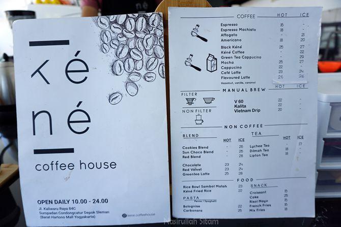 Daftar menu dan harga di Kene Coffee House