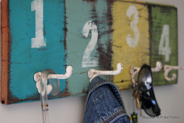 hooks, coat hook, reclaimed wood, http://bec4-beyondthepicketfence.blogspot.com/2013/08/off-hook.html