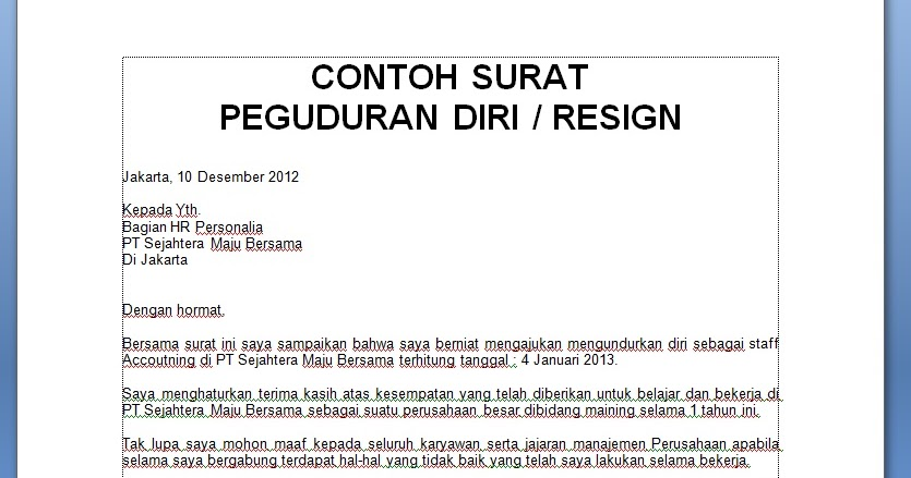 21 Free Download Contoh Surat Resign Dalam Word Format Doc