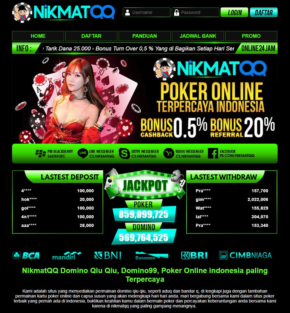 NikmatQQ Situs Permainan Judi Kartu Terbaik dan Terpercaya di Indonesia