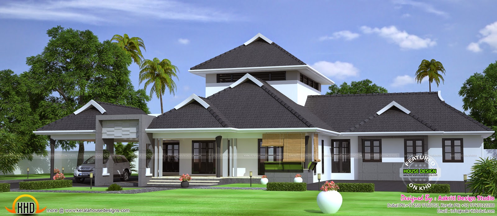 269 sq m single storied house kerala home design and for Big one story homes